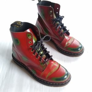 DOC MARTENS Pascal red paint splotch combat boots